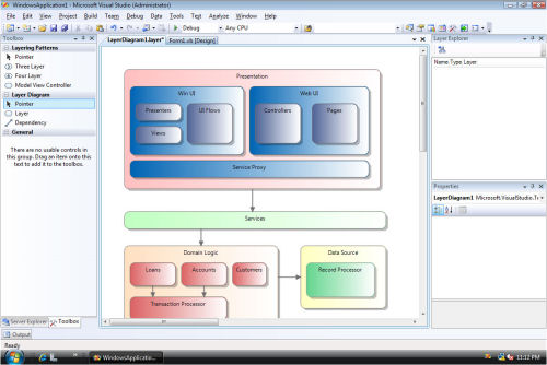 One of the architectural modeling tools in the next version of Microsoft Visual Studio.  [Courtesy Microsoft]