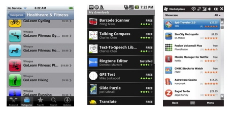 iTunes App Store, Android Market, and Windows Mobile Marketplace