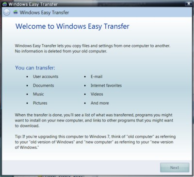 Your initial greeting when starting to run Windows Easy Transfer in Windows XP.