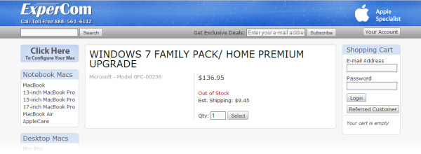 A listing on retailer Expercom's Web site clearly showing a 'Windows 7 Family Pack'