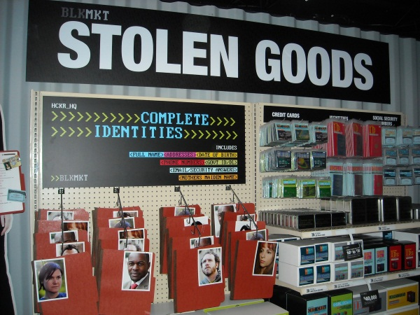 A demonstration rack showing commonly 'stolen goods' pilfered everyday online, during a Symantec press briefing September 9, 2009.