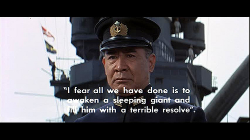"""Actor Toshiro Mifune in his brilliant portrayal of Admiral Isoruku Yamamoto, from the 1968 movie """"Tora! Tora! Tora!"""""""