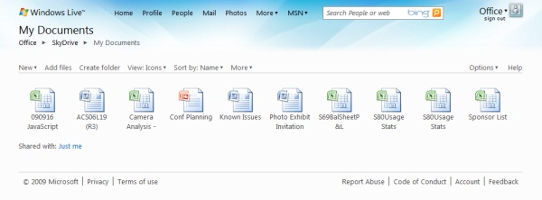 The 'My Documents' selection panel in SkyDrive which launches the Office Web Apps Technical Preview.