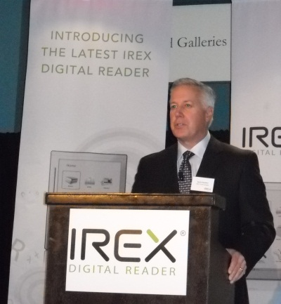 Kevin Hamilton, North American CEO, Irex Technologies, presenting the Irex eReader