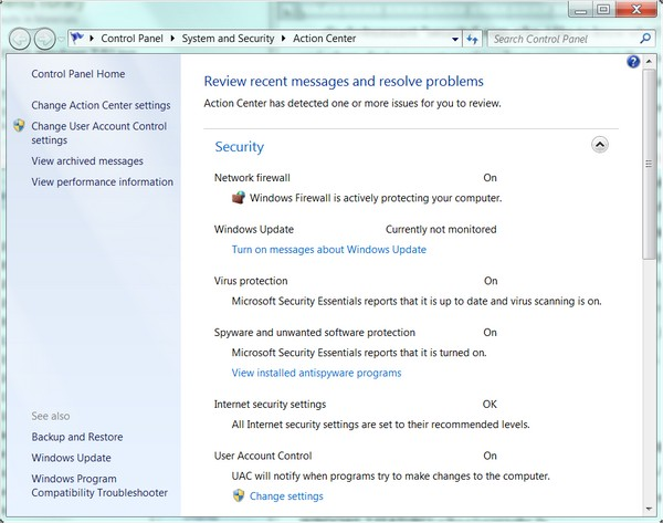 Action Center in Windows 7 shows security nags for Automatic Updates are (thankfully) turned off.