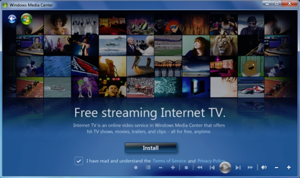 The title screen from Windows Media Center Internet TV, during the Beta 2 period.