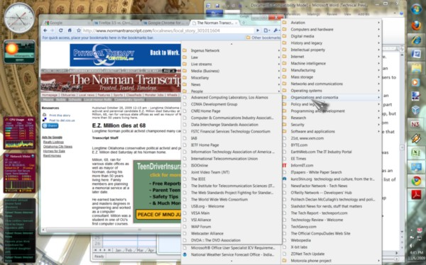 The mess that bookmarks can make of your desktop in just three layers, in Google Chrome 4.