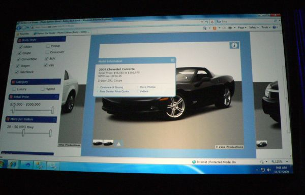 A Silverlight-based application for Kelley Blue Book, demonstrated during the Day 1 keynote at PDC 2009.