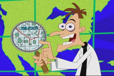 The personification of evil in the modern world: Dr. Heinz Doofenschmirtz, from Disney Channel's 'Phineas and Ferb.'
