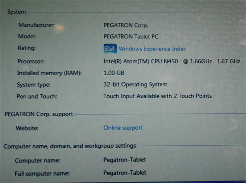 Specs of the Pegatron Tablet/Slate