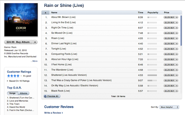 "O.A.R. ""Rain or Shine"""