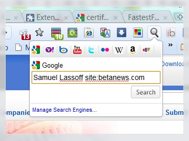 Search Box gives Chrome a way for the user to try multiple search engines.