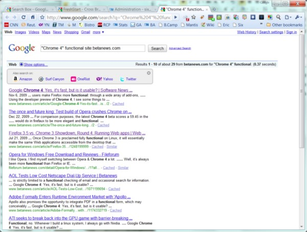 FasterFox amends Chrome's Google search pages with links to other search engines.