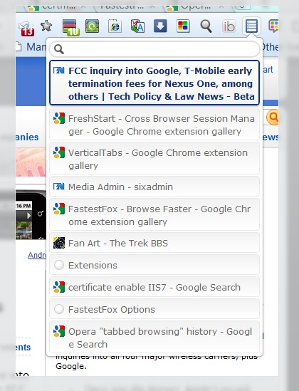 VerticalTabs 2.0 extension for Google Chrome shows full text of tab contents in a menu.