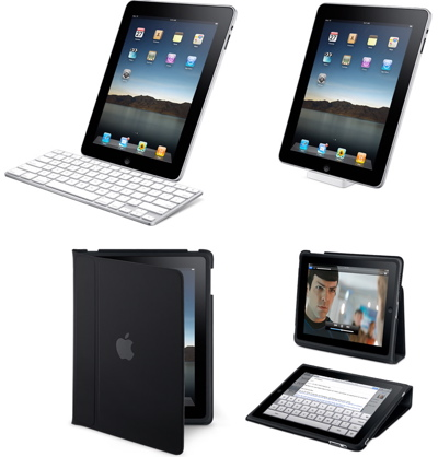 Apple iPad in its Kindle-esque folder and in its keyboard dock
