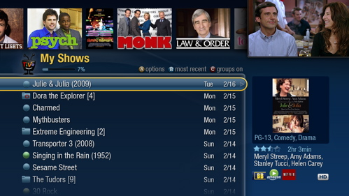 TiVo's new Interface --My Shows