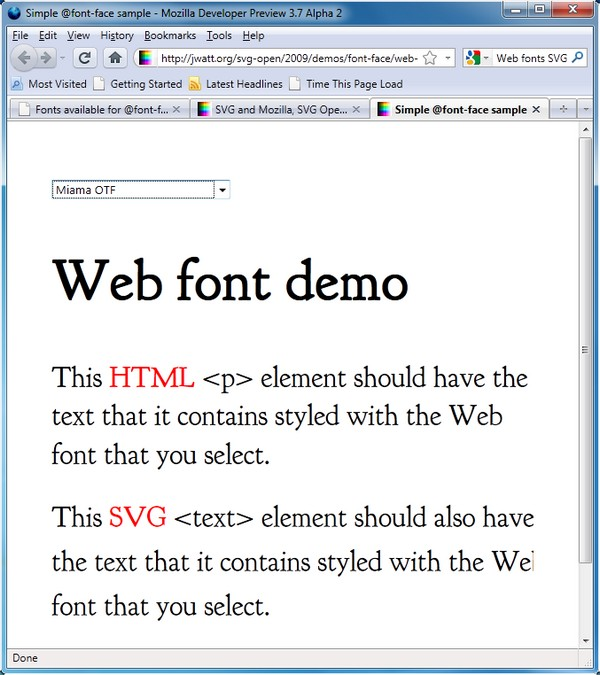 A @font-face rendering test using both HTML and SVG paragraphs, shown in Mozilla Firefox 3.7 Alpha 2.