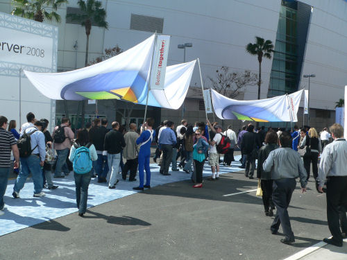 The crowd outside the Nokia Theater in Los Angeles for the 'Heroes Happen Here' launch of Windows Server 2008, February 27, 2008.