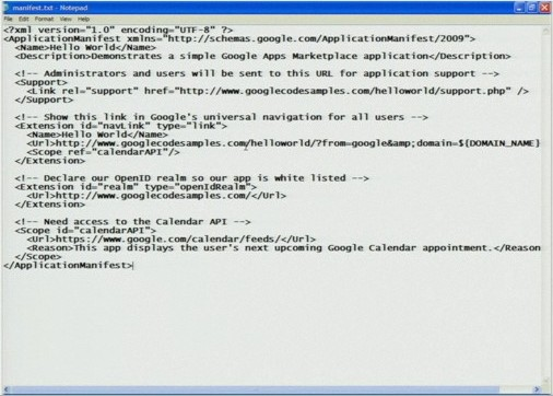 A screenshot of a complete XML-based app manifest for enrollment in Google Apps Marketplace.