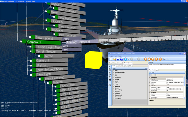 Screenshot of an early build of the Icarus Scene Engine, an OpenGL-based 3D scene editor that is itself rendered in 3D, using the OpenTK toolkit.