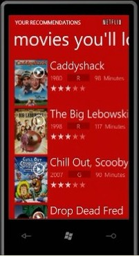 Netflix application created by Vertigo for Windows Phone 7 Series, from MIX 10.