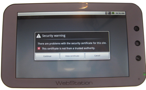 Camangi Webstation Gmail error