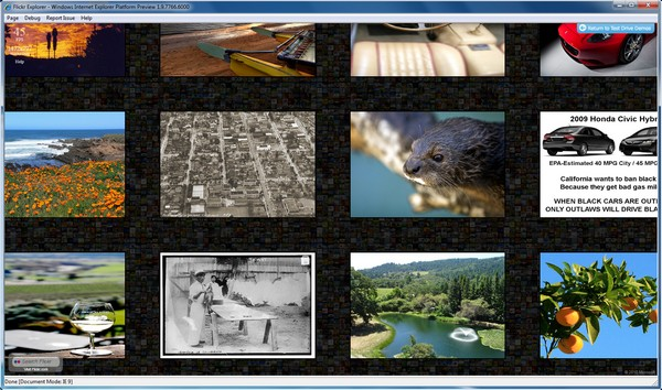 The Flickr photo browser test as rendered by IE9 Platform Preview 2.