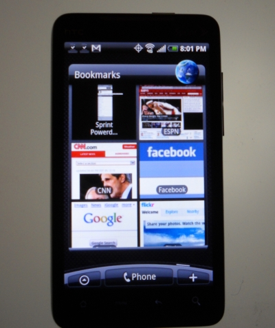 HTC EVO Android phone running a browser.