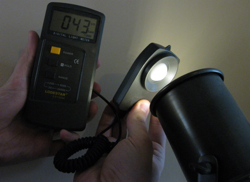 Testing LED bulb's brightness with light meter (1 Lux = 1 lumen/m2)