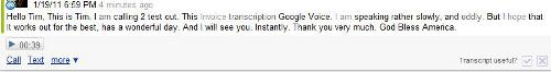 Google Voice Transcription message
