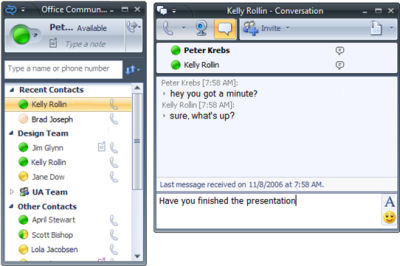 The OC window and conversation window from the latest beta of Office Communicator 2007.