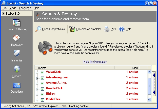 Spybot - Search & Destroy freeware screenshot