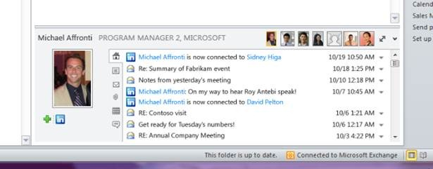 A snippet from the activities list that appears beside a contact or a contact's e-mail message, in Outlook 2010 with Social Connector attached.  [Courtesy Microsoft]