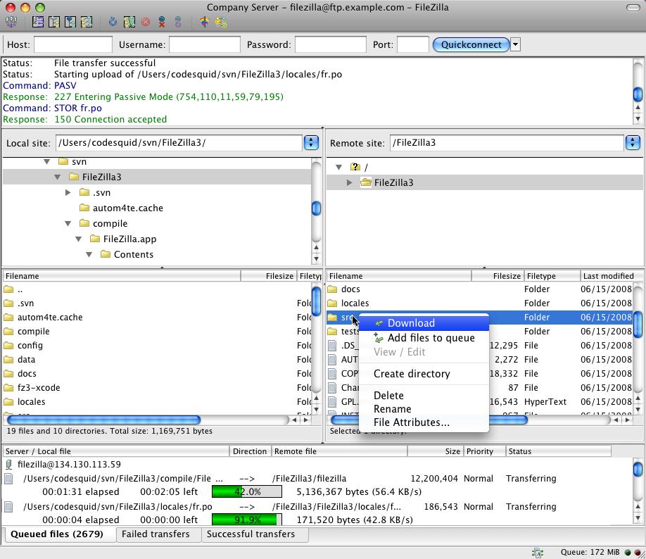 FileZilla v3 for Mac OS X