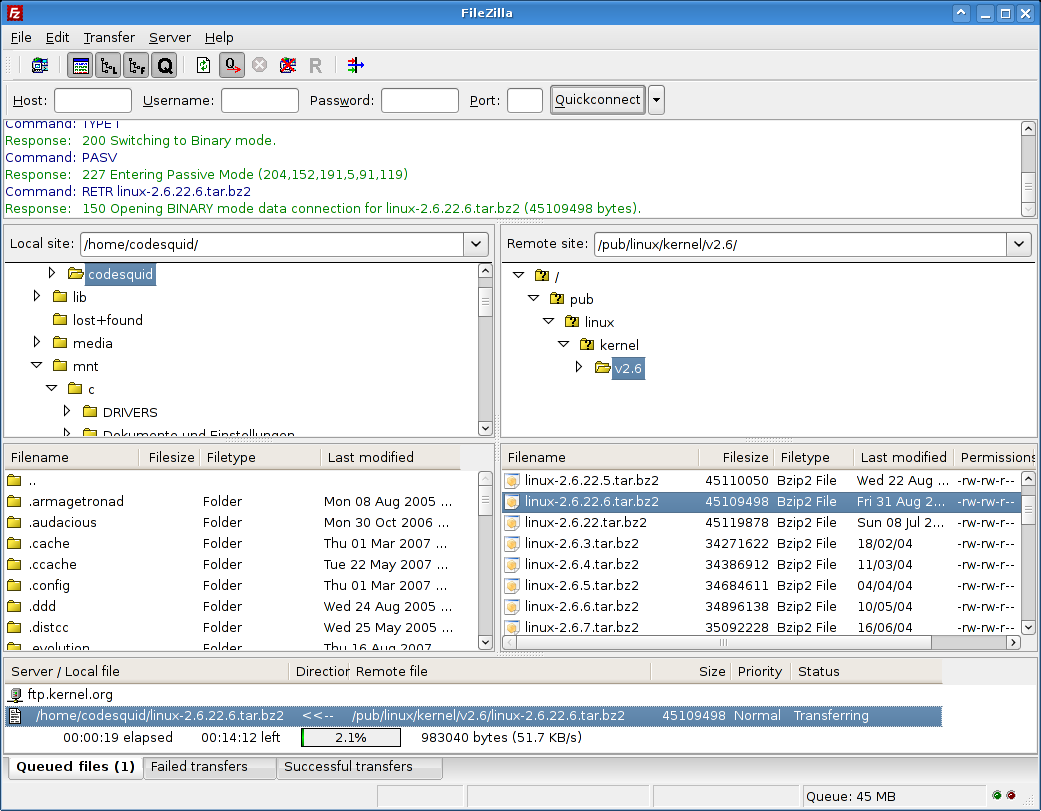 FileZilla v3 for Linux