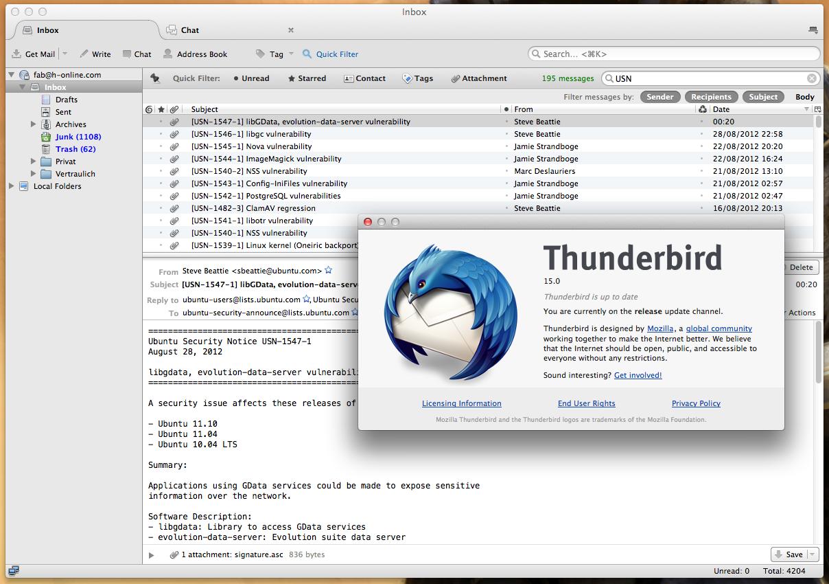 Mozilla Thunderbird for Mac OS X