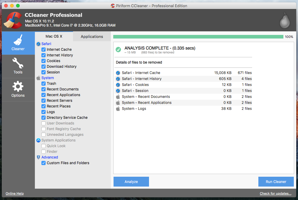 CCleaner for Mac OS X