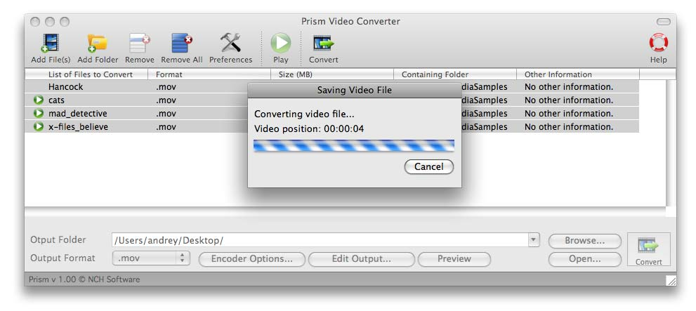 Prism Video Converter for Mac OS X