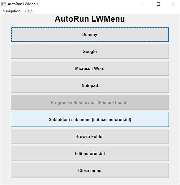 AutoRun LWMenu