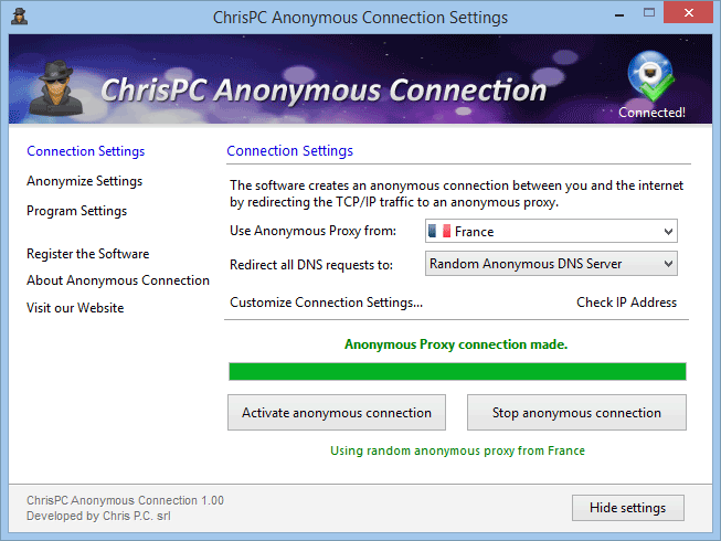 ChrisPC Anonymous Connection
