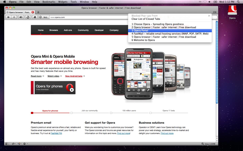 Opera for Mac OS X